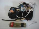 Sensors and Arduino mounted on a wrist brace.